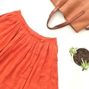 Anthropologie Darlene Dobby orange skirt size 10